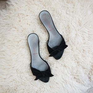miu miu black suede kitten heel wedge bow detail
